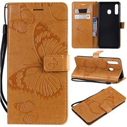 Embossing 3D Butterfly Leather Wallet Case for Samsung Galaxy A20 - Yellow