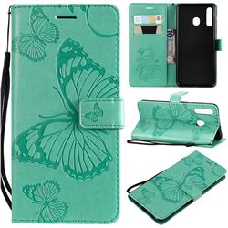 Embossing 3D Butterfly Leather Wallet Case for Samsung Galaxy A20 - Green