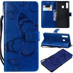 Embossing 3D Butterfly Leather Wallet Case for Samsung Galaxy A20 - Blue