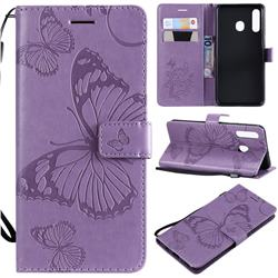 Embossing 3D Butterfly Leather Wallet Case for Samsung Galaxy A20 - Purple