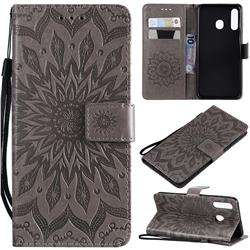 Embossing Sunflower Leather Wallet Case for Samsung Galaxy A20 - Gray