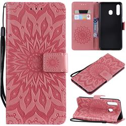 Embossing Sunflower Leather Wallet Case for Samsung Galaxy A20 - Pink