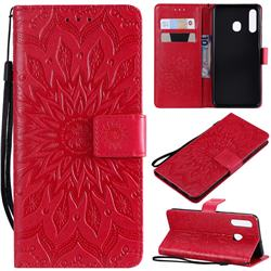 Embossing Sunflower Leather Wallet Case for Samsung Galaxy A20 - Red