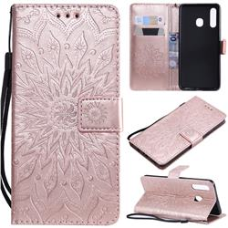 Embossing Sunflower Leather Wallet Case for Samsung Galaxy A20 - Rose Gold