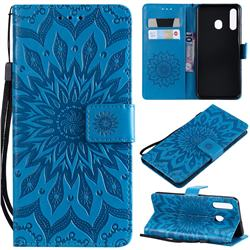 Embossing Sunflower Leather Wallet Case for Samsung Galaxy A20 - Blue