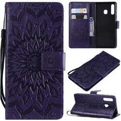 Embossing Sunflower Leather Wallet Case for Samsung Galaxy A20 - Purple