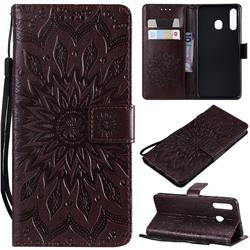 Embossing Sunflower Leather Wallet Case for Samsung Galaxy A20 - Brown