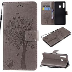 Embossing Butterfly Tree Leather Wallet Case for Samsung Galaxy A20 - Grey