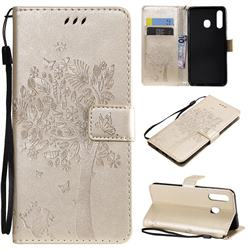 Embossing Butterfly Tree Leather Wallet Case for Samsung Galaxy A20 - Champagne