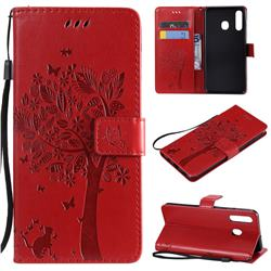 Embossing Butterfly Tree Leather Wallet Case for Samsung Galaxy A20 - Red