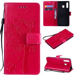 Embossing Butterfly Tree Leather Wallet Case for Samsung Galaxy A20 - Rose