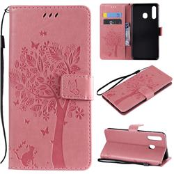 Embossing Butterfly Tree Leather Wallet Case for Samsung Galaxy A20 - Pink