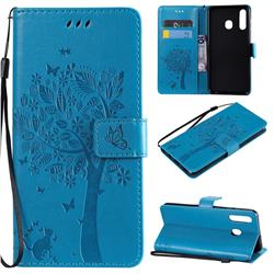 Embossing Butterfly Tree Leather Wallet Case for Samsung Galaxy A20 - Blue