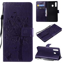 Embossing Butterfly Tree Leather Wallet Case for Samsung Galaxy A20 - Purple
