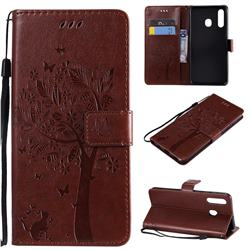Embossing Butterfly Tree Leather Wallet Case for Samsung Galaxy A20 - Coffee