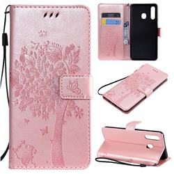 Embossing Butterfly Tree Leather Wallet Case for Samsung Galaxy A20 - Rose Pink
