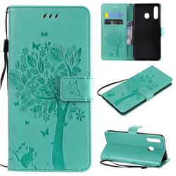 Embossing Butterfly Tree Leather Wallet Case for Samsung Galaxy A20 - Cyan