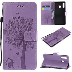 Embossing Butterfly Tree Leather Wallet Case for Samsung Galaxy A20 - Violet