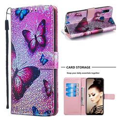 Blue Butterfly Sequins Painted Leather Wallet Case for Samsung Galaxy A20