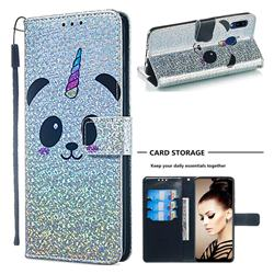 Panda Unicorn Sequins Painted Leather Wallet Case for Samsung Galaxy A20