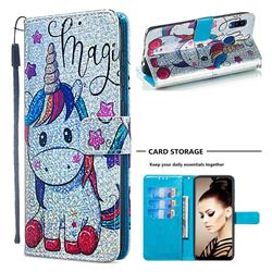 Star Unicorn Sequins Painted Leather Wallet Case for Samsung Galaxy A20