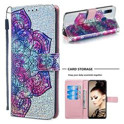 Glutinous Flower Sequins Painted Leather Wallet Case for Samsung Galaxy A20