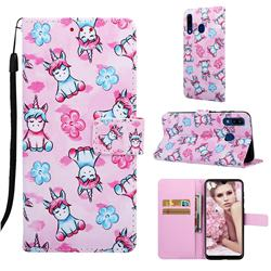 Unicorn and Flowers Matte Leather Wallet Phone Case for Samsung Galaxy A20