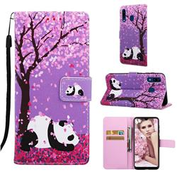 Cherry Blossom Panda Matte Leather Wallet Phone Case for Samsung Galaxy A20