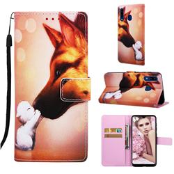 Hound Kiss Matte Leather Wallet Phone Case for Samsung Galaxy A20