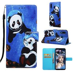 Undersea Panda Matte Leather Wallet Phone Case for Samsung Galaxy A20