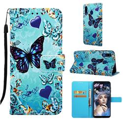 Love Butterfly Matte Leather Wallet Phone Case for Samsung Galaxy A20