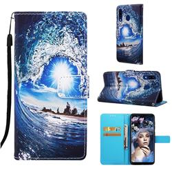 Waves and Sun Matte Leather Wallet Phone Case for Samsung Galaxy A20