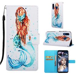Mermaid Matte Leather Wallet Phone Case for Samsung Galaxy A20