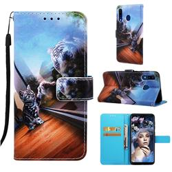 Mirror Cat Matte Leather Wallet Phone Case for Samsung Galaxy A20