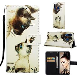 Cat Confrontation Matte Leather Wallet Phone Case for Samsung Galaxy A20