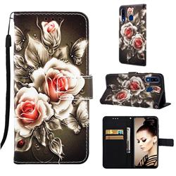 Black Rose Matte Leather Wallet Phone Case for Samsung Galaxy A20