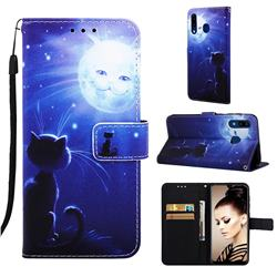 Cat and Moon Matte Leather Wallet Phone Case for Samsung Galaxy A20