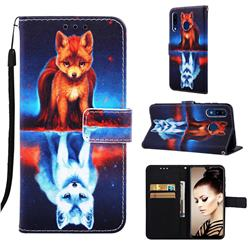 Water Fox Matte Leather Wallet Phone Case for Samsung Galaxy A20