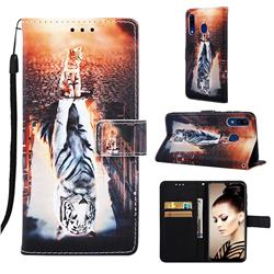Cat and Tiger Matte Leather Wallet Phone Case for Samsung Galaxy A20