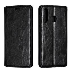 Retro Slim Magnetic Crazy Horse PU Leather Wallet Case for Samsung Galaxy A20 - Black