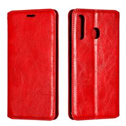 Retro Slim Magnetic Crazy Horse PU Leather Wallet Case for Samsung Galaxy A20 - Red
