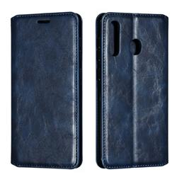 Retro Slim Magnetic Crazy Horse PU Leather Wallet Case for Samsung Galaxy A20 - Blue