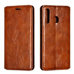 Retro Slim Magnetic Crazy Horse PU Leather Wallet Case for Samsung Galaxy A20 - Brown