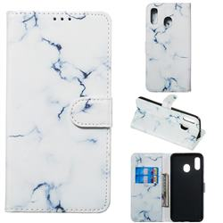 Soft White Marble PU Leather Wallet Case for Samsung Galaxy A20
