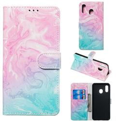 Pink Green Marble PU Leather Wallet Case for Samsung Galaxy A20