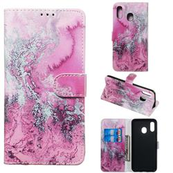 Pink Seawater PU Leather Wallet Case for Samsung Galaxy A20