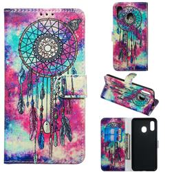 Butterfly Chimes PU Leather Wallet Case for Samsung Galaxy A20