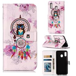 Wind Chimes Owl 3D Relief Oil PU Leather Wallet Case for Samsung Galaxy A20