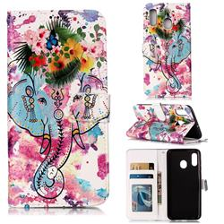 Flower Elephant 3D Relief Oil PU Leather Wallet Case for Samsung Galaxy A20