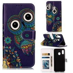 Folk Owl 3D Relief Oil PU Leather Wallet Case for Samsung Galaxy A20